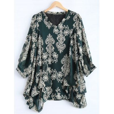 Plus Size Paisley Printed Asymmetric Blouse