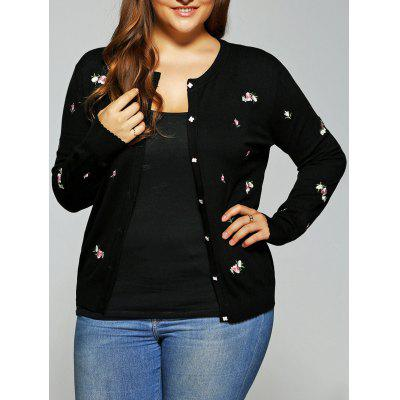 Floral Embroidered Cute Plus Size Cardigan