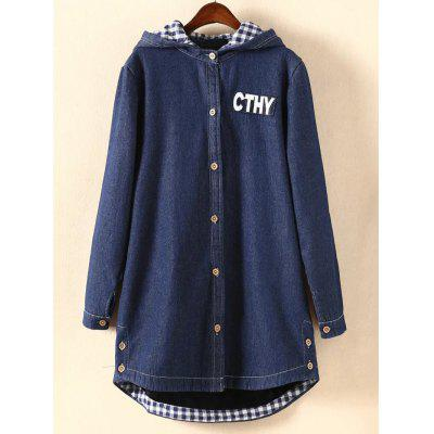 Letter Applique Plaid Hooded Jean Coat