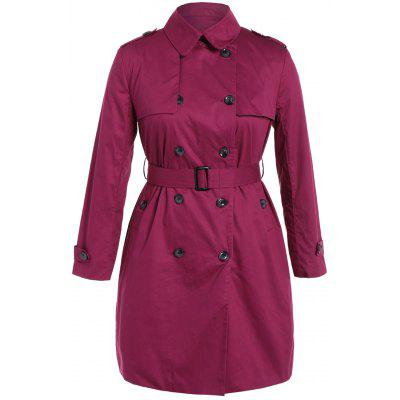 Plus Size Double-Breasted Brasão Tie-cintura Trench