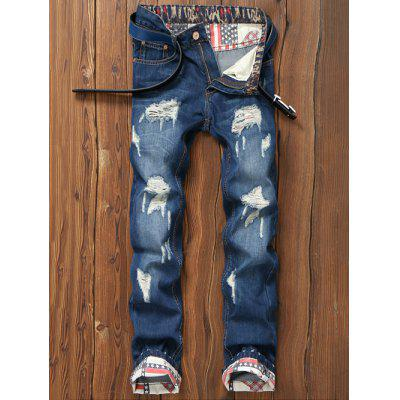 Star Print Hemming Design Distressed Zipper Fly Straight Leg Jeans
