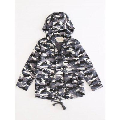 Drawstring Camo Hooded Jacket