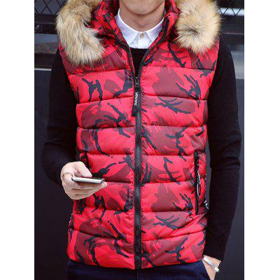 Colletto in pelliccia sintetica con cappuccio Camouflage Zip-Up Down Gilet