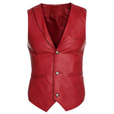 Shawl Collar Slim Fit PU Vest