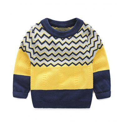 Boys Zigzag Color Block Pullover Sweater