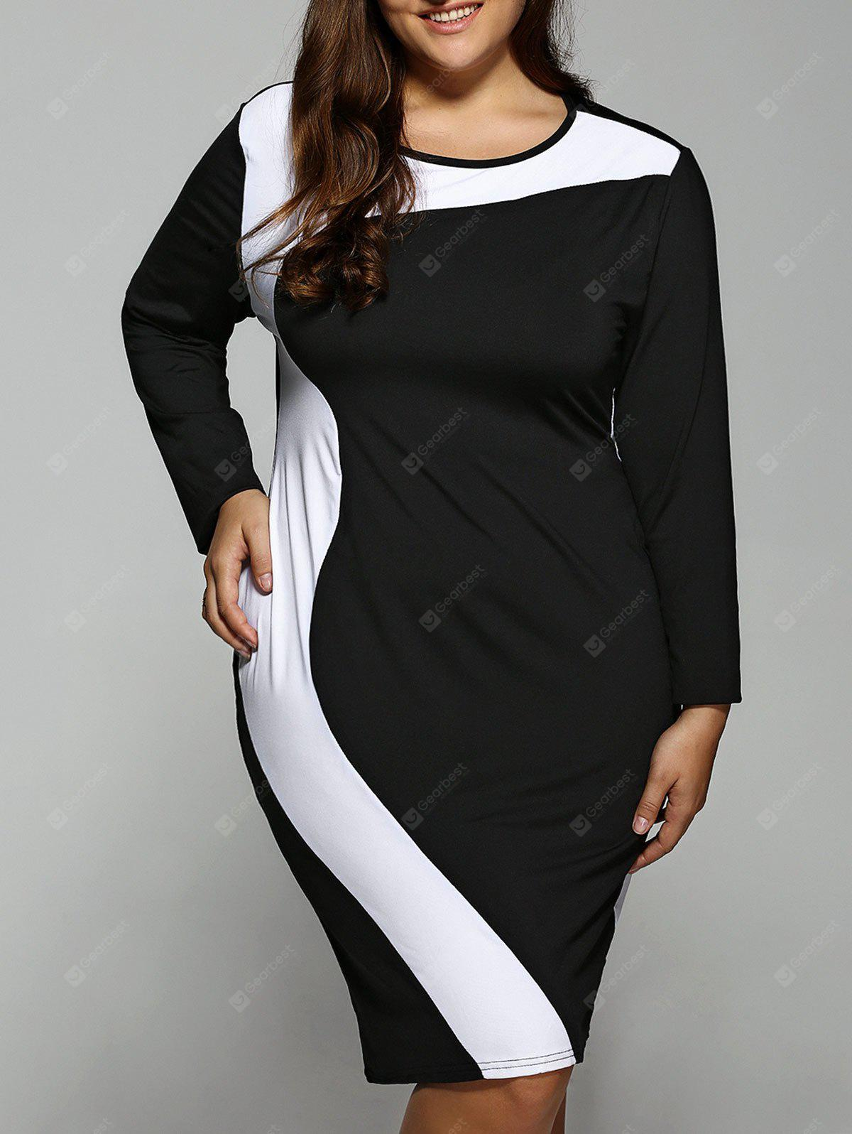 BLACK Plus Size Color Block Long Sleeve Dress