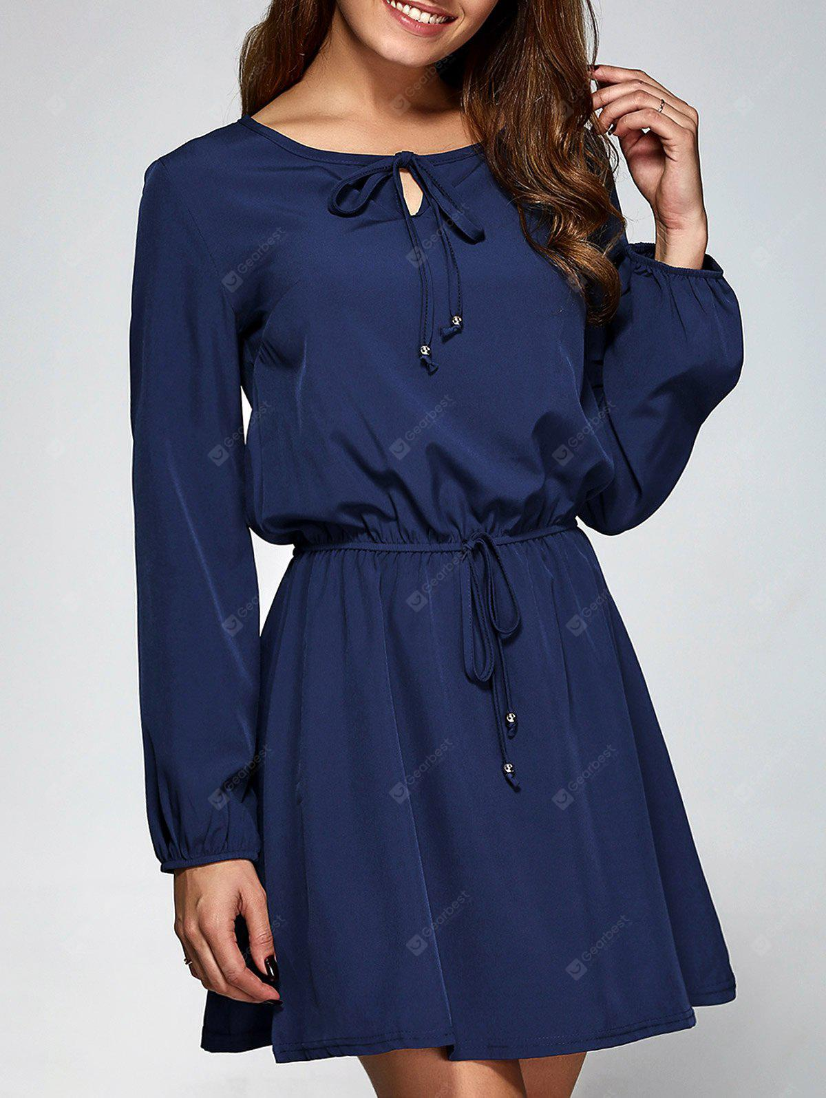 PURPLISH BLUE M Long Sleeve A-Line Dress