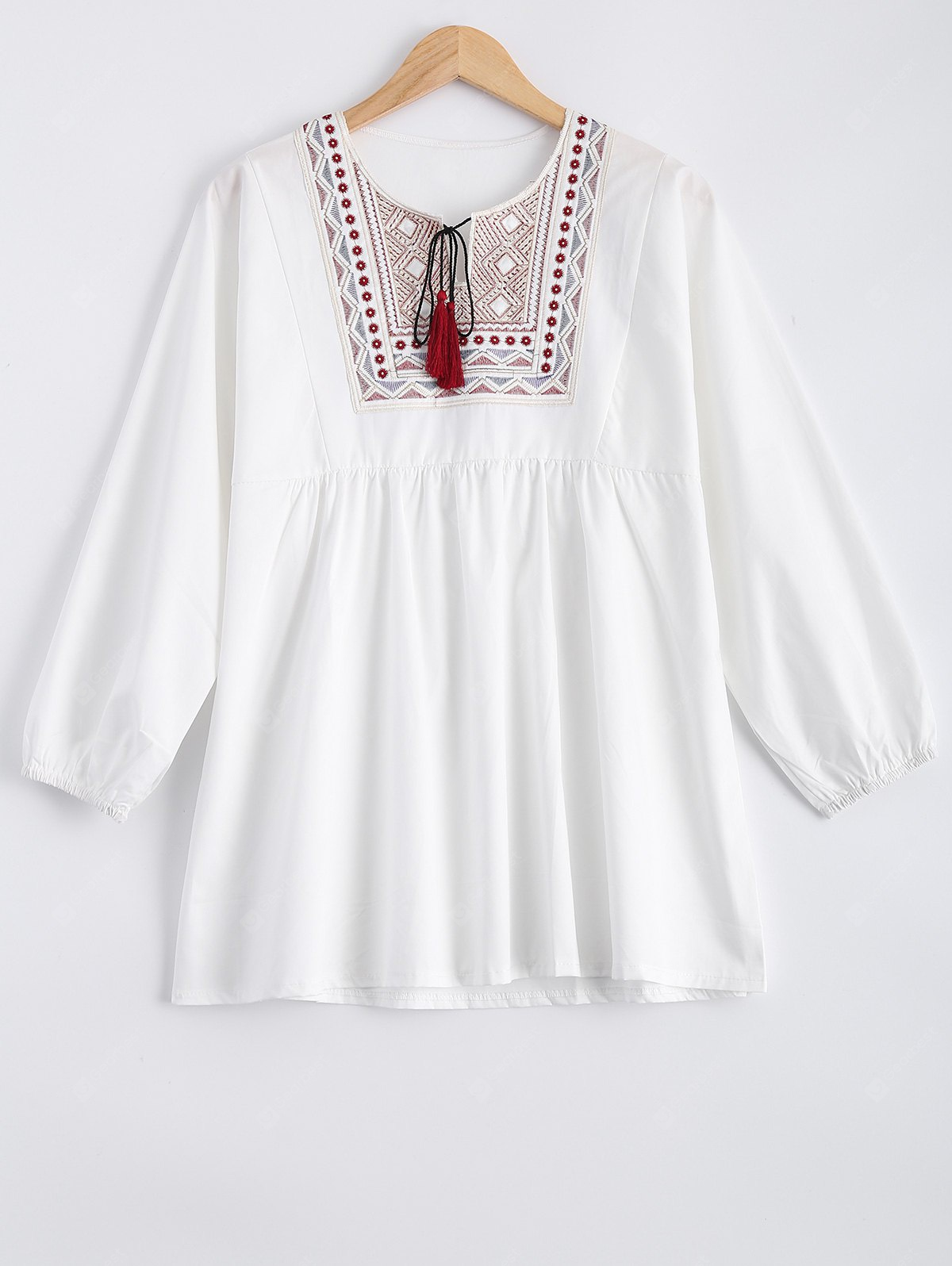 WHITE Plus Size Embroidered Fringed Blouse
