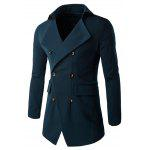 Slim Double Breasted Notched Collar Coat - CADETBLUE