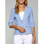 Lapel One Button Slimming Plain Blazer - AZURE