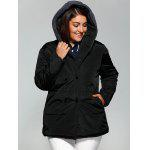 Buy Plus Size Double-Breasted Knit-Insert Hooded Coat 4XL BLACK