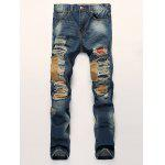 Buy BLUE Patch Design Distressed Zipper Fly Straight Leg Jeans for $43.89 in GearBest store