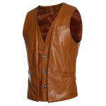 Faux Twinset V-Neck Single-Breasted PU-Leather Wasitcoat - LIGHT BROWN