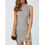 Asymmetric Knitted Sleeveless Jumper Bandage Dress - GRAY