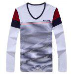 Striped V Neck Long Sleeve T-Shirt for sale