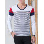 cheap Striped V Neck Long Sleeve T-Shirt