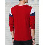 Striped Long Sleeve Red T Shirt Men - WINE RED
