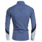 Slim Long Sleeve Color Block Shirt - AZUL DENIM