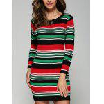 Stretchy Multicolor Striped Slim Dress - RED