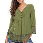 Lacework Splicing Single-Breasted Blouse - ARMY GREEN