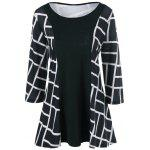 Plus Size Geometric Smock Blouse - WHITE AND BLACK