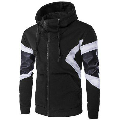 PU Leather Splicing Front Pocket Design Hoodie