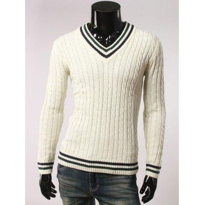 Buy WHITE Stripes Pattern Cable Knit V Neck Sweater for $21.92 in GearBest store