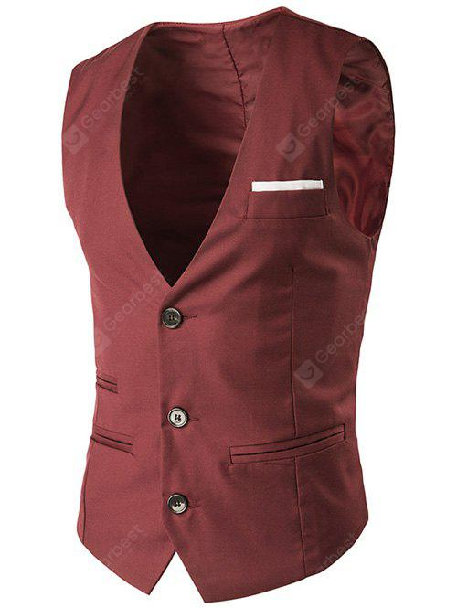 V-Neck Single-Breasted Edging Design Waistcoat