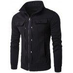 IZZUMI Buttoned Pleated Stand Collar Zip Up Jacket - NOIR