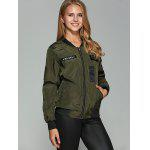 Patched Printed Bomber Jacket - ARMY GREEN