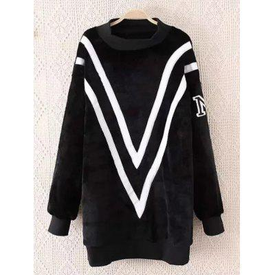 Fluffy Plus Size Sherpa Chevron Sweatshirt