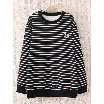 Striped Plus Size Fleece Black and White Sweatshirt
