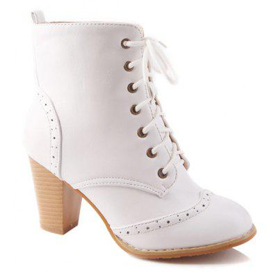 Chunky Heel Engraving Tie Up Ankle Boots