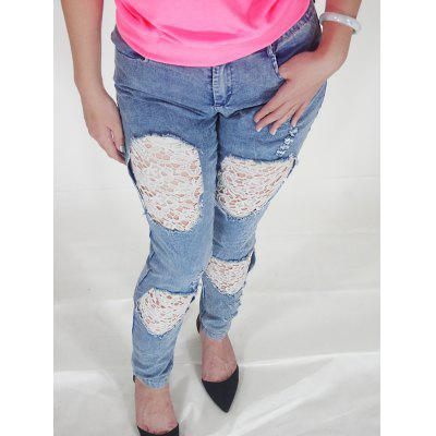 Lace Spliced Hollow Out Skinny Ripped Jeans