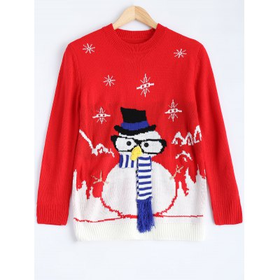 Christmas Snowman Pattern Pullover Sweater