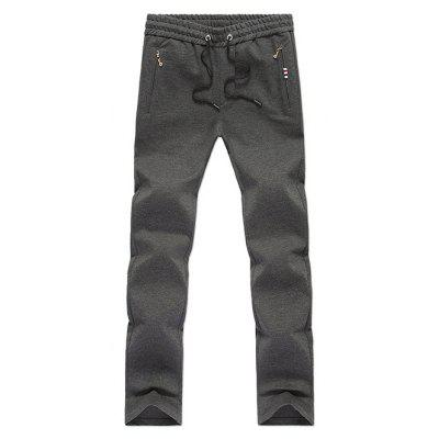 Zipper Pocket Straight Leg Drawstring Pants