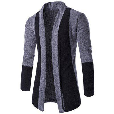 Slim-Fit Color Block Shawl Collar Cardigan
