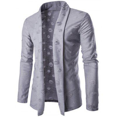 Slim-Fit Distressed Shawl Collar Cardigan