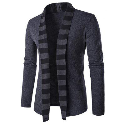 Slim-Fit Striped Shawl Collar Cardigan