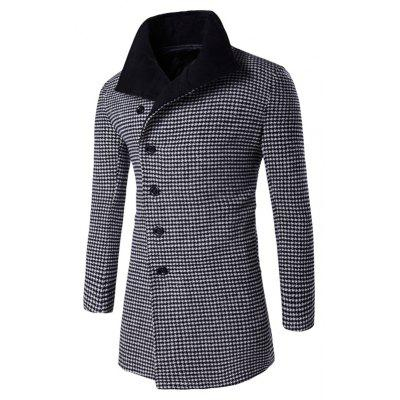 Buy BLACK Single-Breasted Houndstooth Pattern Woolen Coat for $37.73 in GearBest store