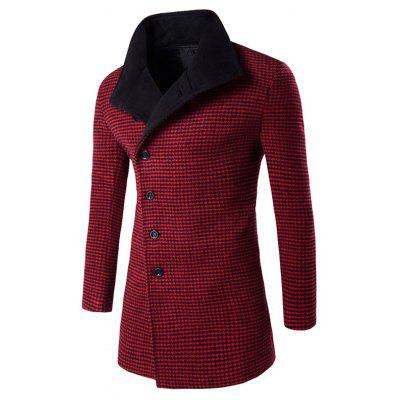 Buy RED Single-Breasted Houndstooth Pattern Woolen Coat for $37.73 in GearBest store