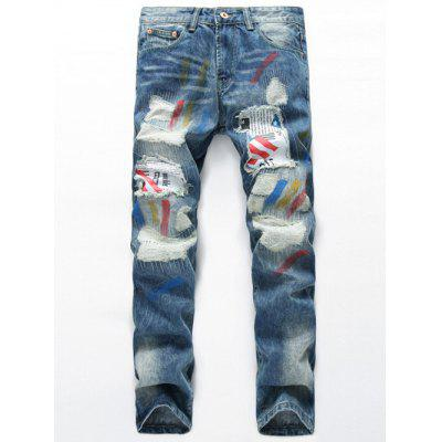 Buy LIGHT BLUE Splatter Paint Distressed Patch Design Straight Leg Jeans for $41.14 in GearBest store