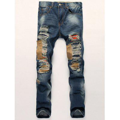 Buy BLUE Distressed Zipper Fly Patch Design Straight Leg Jeans for $40.49 in GearBest store