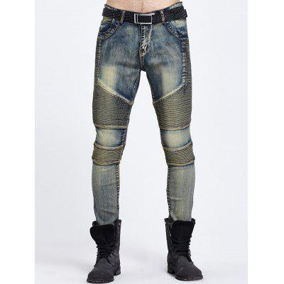 Buy BLUE Cool Zipper Fly Ribbed Panel Ripped Jeans for $29.66 in GearBest store