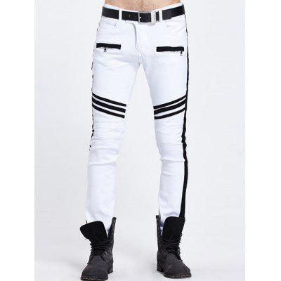 Buy WHITE Zippered Pocket Contrast Panel Skinny Jeans for $36.51 in GearBest store