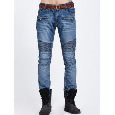 Buy BLUE Zipper Pocket Biker Denim Jeans for $33.73 in GearBest store
