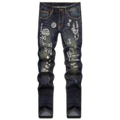 Buy DENIM BLUE Hand Painted Print Zipper Fly Straight Leg Jeans for $41.00 in GearBest store