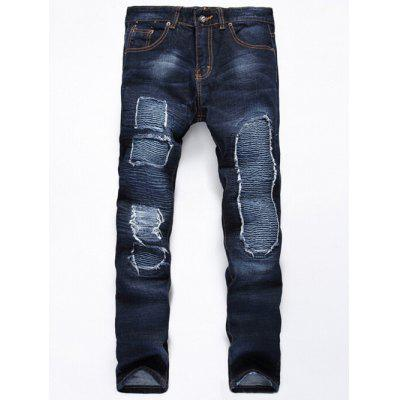 Buy DENIM BLUE Distressed Rib Design Zipper Fly Straight Leg Jeans for $46.65 in GearBest store