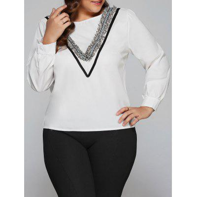 Plus Size Tassel V Design Long Sleeve Blouse