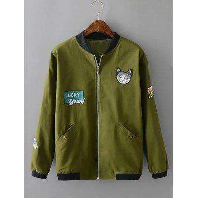Buy ARMY GREEN Plus Size Kitten Applique Zipped Bomber Jacket for $12.93 in GearBest store